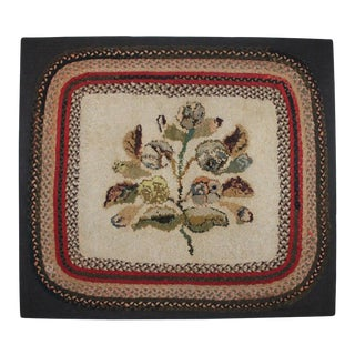 19th Century Hand Hooked Folky Floral Rug Mounted With Braided Border - 2′9″ × 3′1″ For Sale