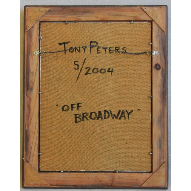 """Wood Artist Tony Peters Female Portrait """"Off Broadway"""" Framed Oil Painting For Sale - Image 7 of 9"""
