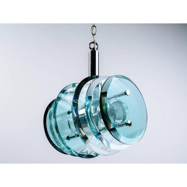 1960s Italian Mid-Century Modern Geometric Glass Pendant Light For Sale - Image 5 of 11