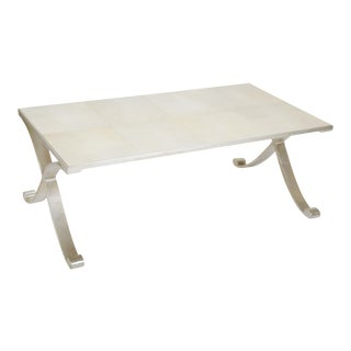 Contemporary Coffee Table of Silvered Metal with Faux Shagreen Surface For Sale