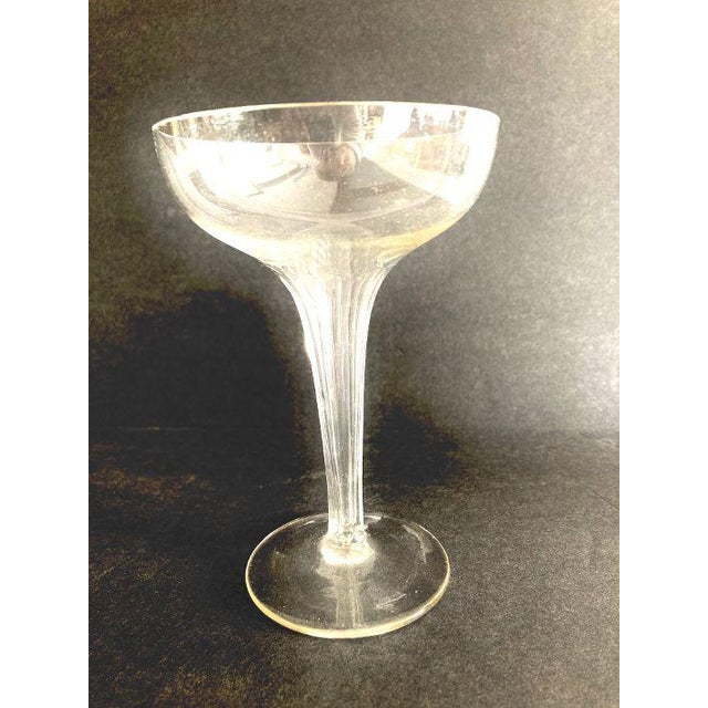 Mid-Century Ribbed Hollow Stem Champagne Glasses - Set of 5 For Sale - Image 4 of 7
