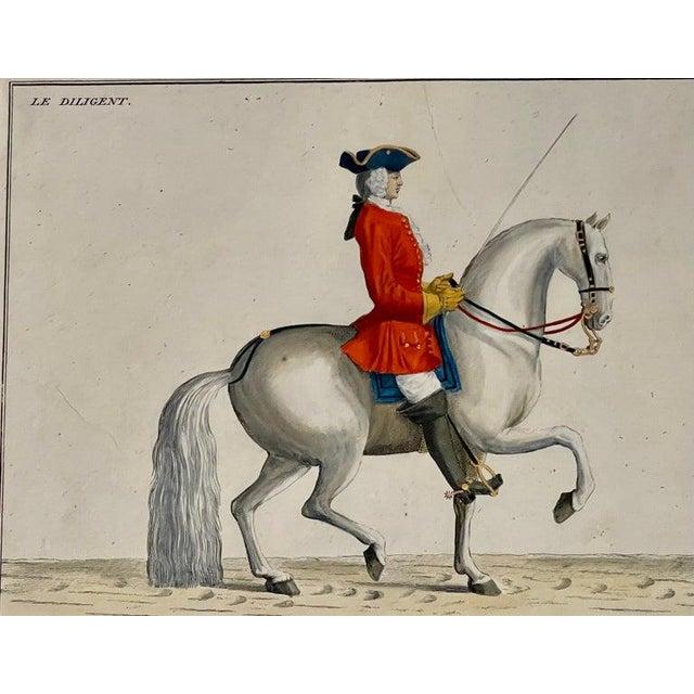 Four Engravings of Horse Riders Le Soldat, Le Grand, Le Diligent, L' Enjoue For Sale - Image 4 of 12