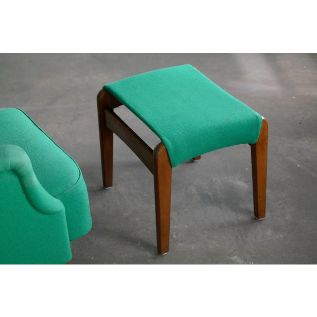Fritz Hansen 1950s Danish Wingback Chair Model 8023 With Ottoman For Sale - Image 9 of 12