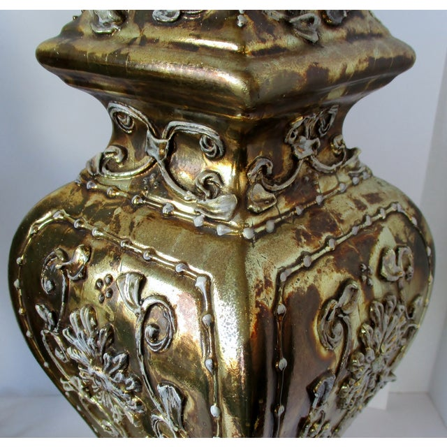 Metal Gold Ginger Jar Lamps, a Pair For Sale - Image 7 of 9