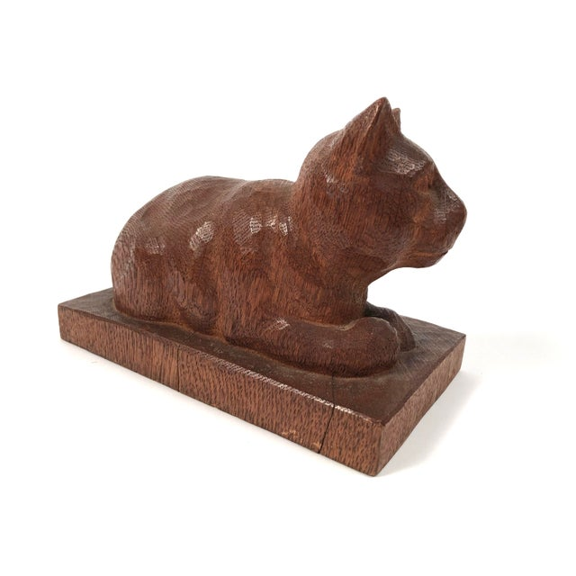 Late 19th Century Folk Art Hand Carved Wood Cat Sculpture For Sale - Image 5 of 12