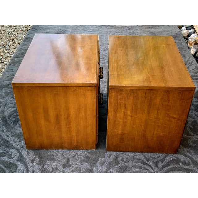 Boho Chic 1960s Vintage Faux Bamboo Nightstands- A Pair For Sale - Image 3 of 6