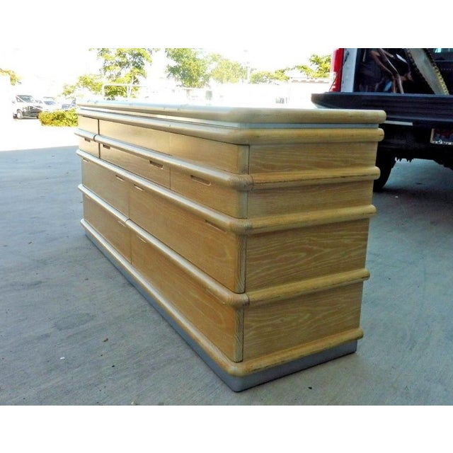 1970s Jay Spectre for Century Furniture Limed Oak 7 Drawer Credenza of Chest For Sale - Image 5 of 10