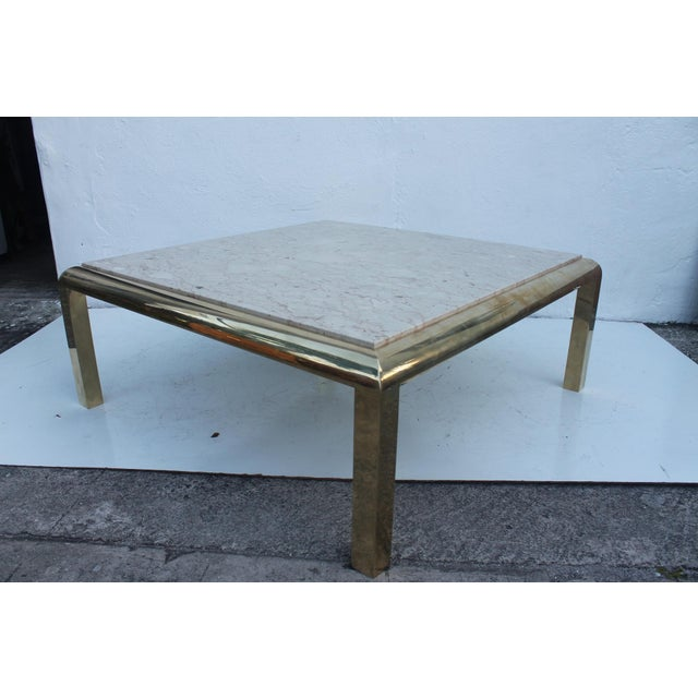Mastercraft Brass & Marble Top Coffee Table