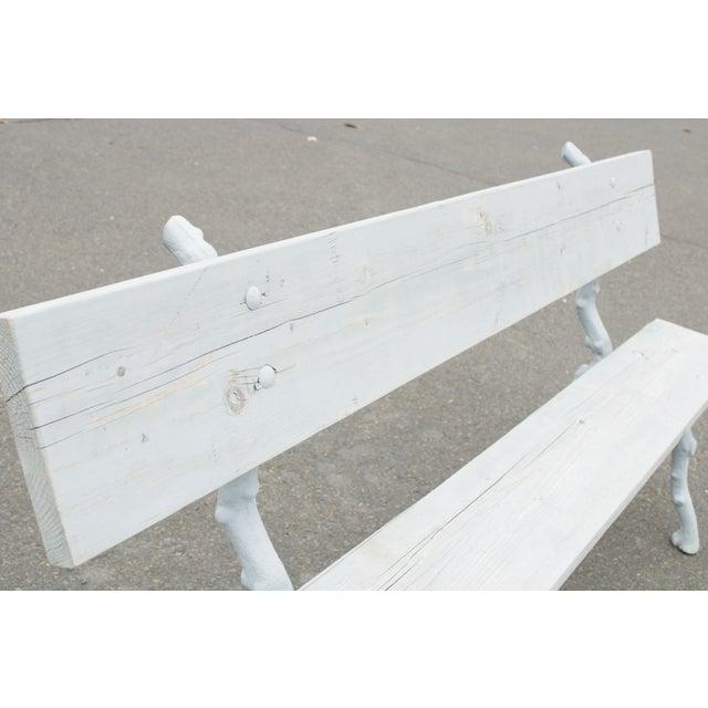 Quality Cast Iron Faux Bois Garden Park Bench For Sale - Image 10 of 13