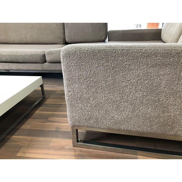 Brown Ligne Roset Styled Sectional Modern Sofa With Chrome Base For Sale - Image 8 of 13