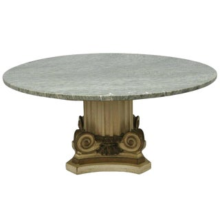 Empire Green Marble Top Fluted Wood Corinthian Column Coffee Table For Sale
