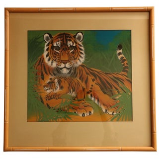 Mid Century Asian Tiger Silk Painting For Sale
