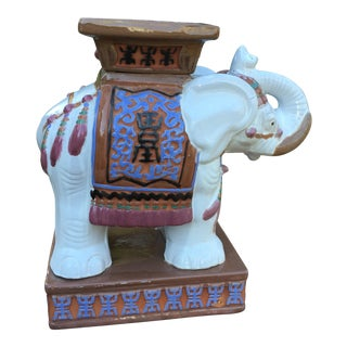 Vintage Terra Cotta Painted Elephant Garden Stool