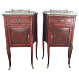 Image of 20th Mid-Century Modern Pair of Nightstands With Glass Top and Bronze Crest For Sale
