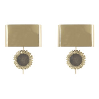 "French Mid-Century ""Sunflower"" Wall Sconces - a Pair For Sale"