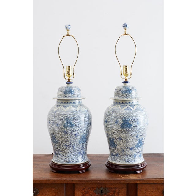 Asian Chinese Porcelain Blue and White Ginger Jar Lamps For Sale - Image 3 of 12