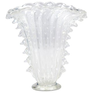 """Crystal Clear Murano """"Pulegoso"""" Glass Vase For Sale"""