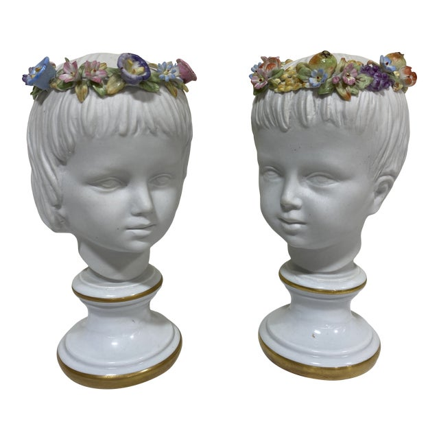 Petite Capodimonte Porcelain Boy Girl Busts - a Pair For Sale