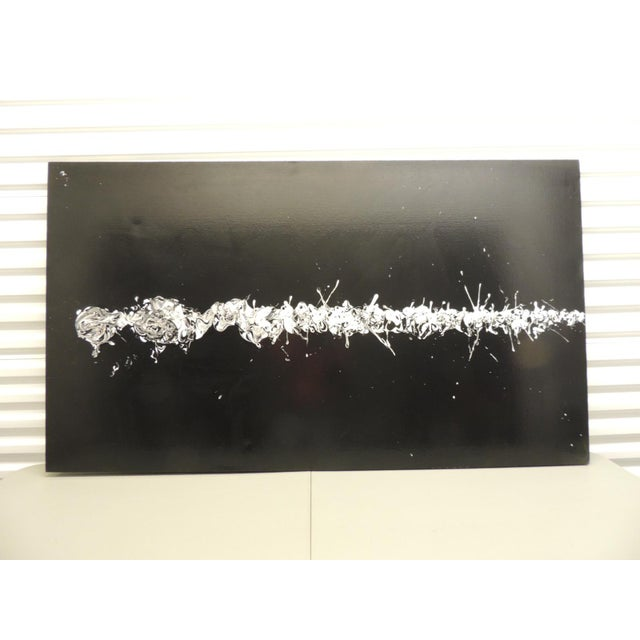 Black & White Contemporary Oil Painting - Image 3 of 8