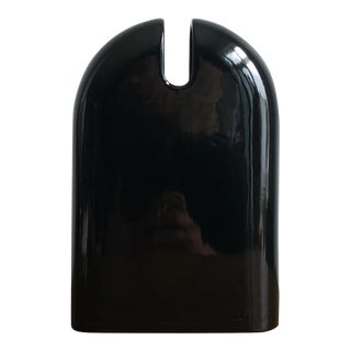 Post Modern Vintage Sicart Black Ceramic Vase Memphis Era For Sale