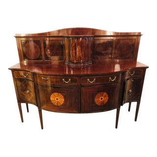 Sheraton Flame Mahogany 19th Century Sideboard Buffet With Inlaid Backsplash Top For Sale