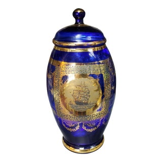 1900s Bohemian Gilded Cobalt Glass Lidded Jar With Ship Motif For Sale