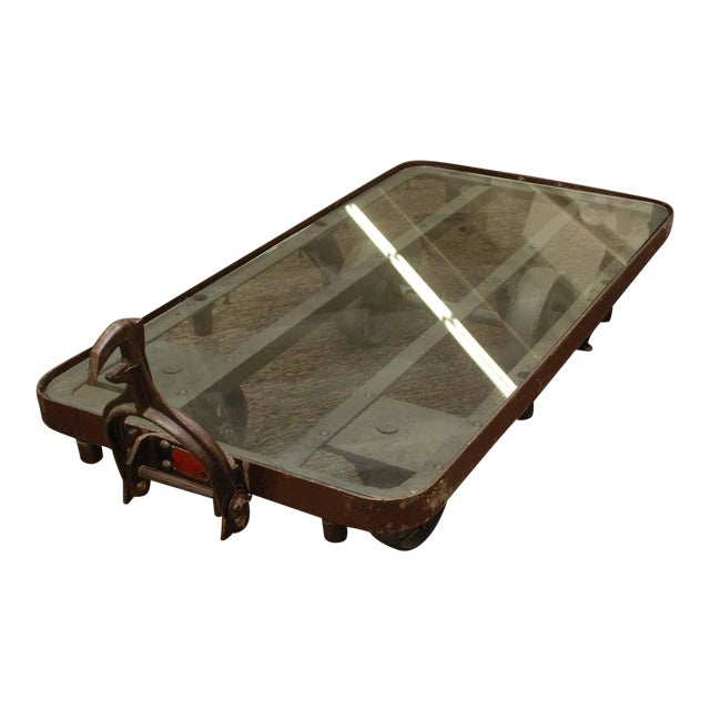 Industrial Glass Top Iron Cart Coffee Table - Image 1 of 5