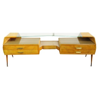Italian Ico Parisi Style Glass Top Sideboard For Sale