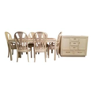 Thomasville Prestige Style Blonde Wood Dining Set & Credenza - 9 Pc. Set For Sale