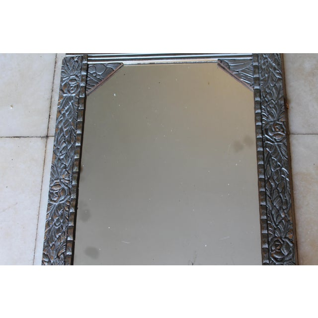 Silver Antique French Art Deco Carved Wood Distressed Silver Wall Mirror C1920's For Sale - Image 8 of 10