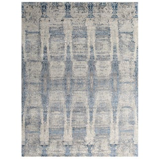 "Contemporary Hand Knotted Modern Wool & Viscose Rug - 8'1"" X 9'11' For Sale"