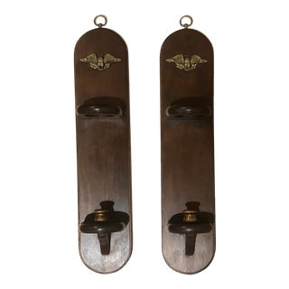 Vintage American Revival Gilt Eagle and Wooden Wall Sconce Candle Holders - a Pair For Sale