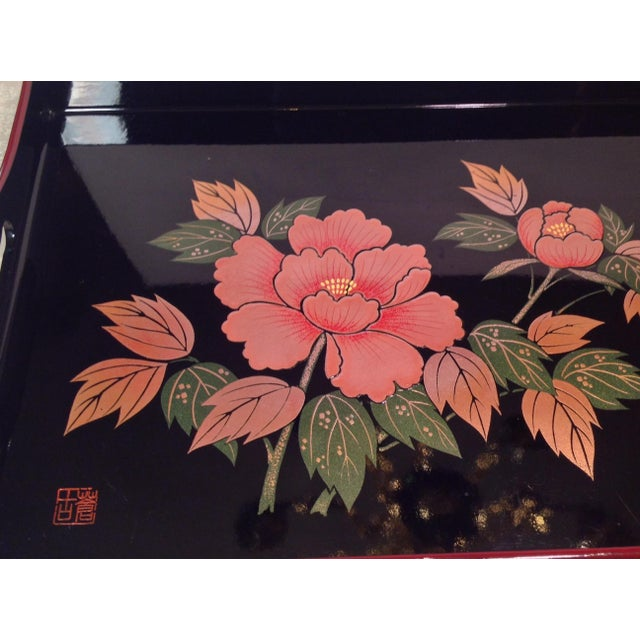 Mid-Century Modern Japanese Lacquer Tray With Floral Design - Image 7 of 11