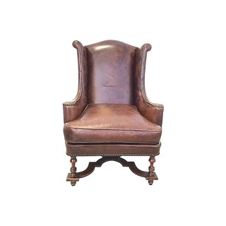 19th Century Antique Leather & Carved Wingback Chair For Sale