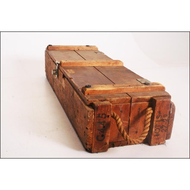 Vintage Industrial Military Wood Ammo Box With Rope Handles