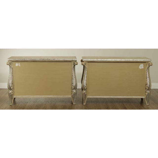 1990s Rococo Style Custom Silver Leaf Foliage 2 Door Commodes Servers - a Pair For Sale - Image 5 of 12