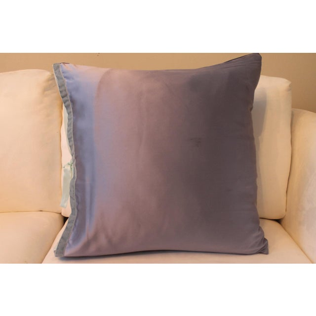 2010s Michele Varian Blue Silk Pillows - A Pair For Sale - Image 5 of 6