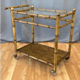 Medallion Limited Chinese Chippendale-Style Faux Bamboo Oak Bar Cart, 1960s Preview