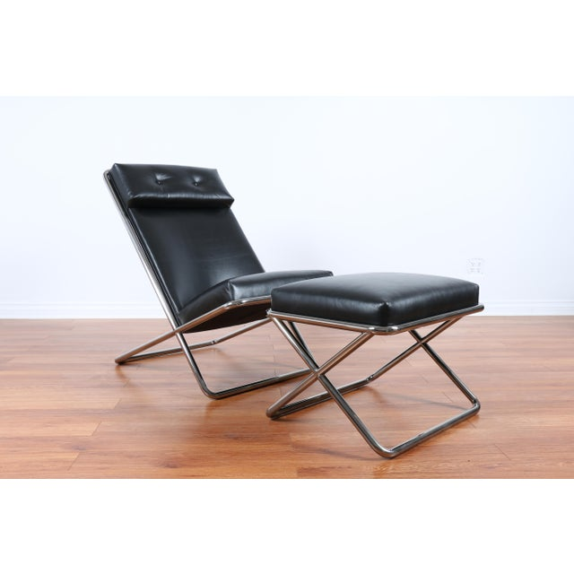 Ward Bennet Style Chrome and Leather Lounge Chair For Sale - Image 4 of 8