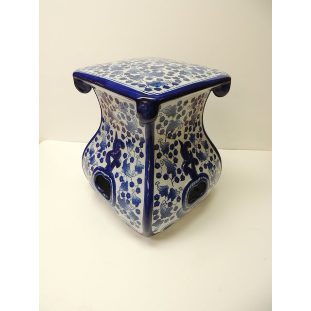 Ceramic Vintage Blue and White Ceramic Painted Garden Stool For Sale - Image 7 of 7