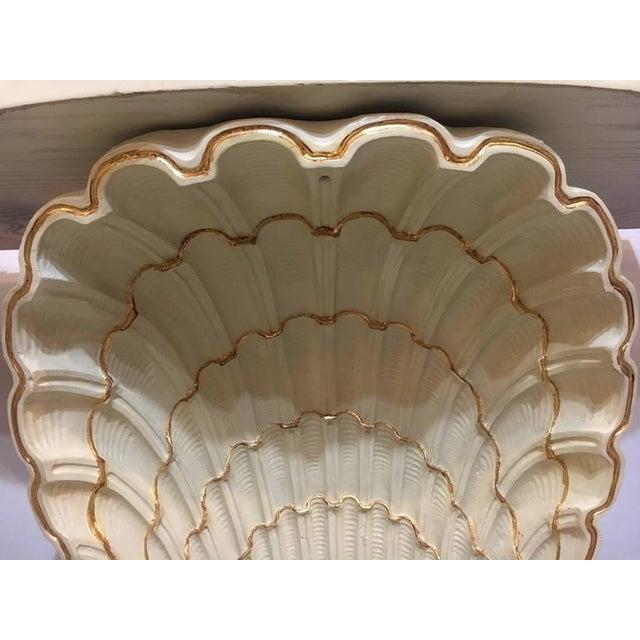 Jansen Shell Form White & Parcel Gilt Demi Lune Consoles - A Pair - Image 8 of 9