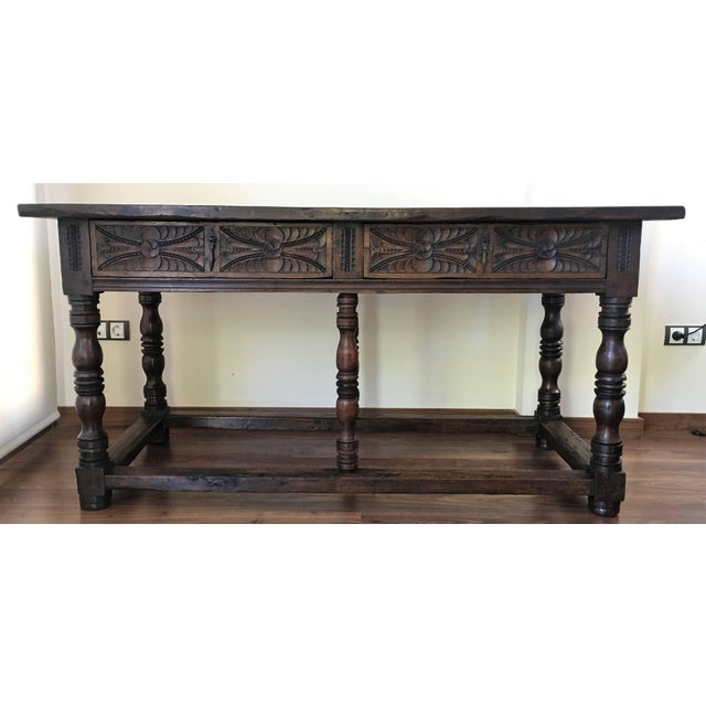 Baroque 17th Century Spanish Refectory Table or Farm Table With Drawers For Sale - Image 3 of 10