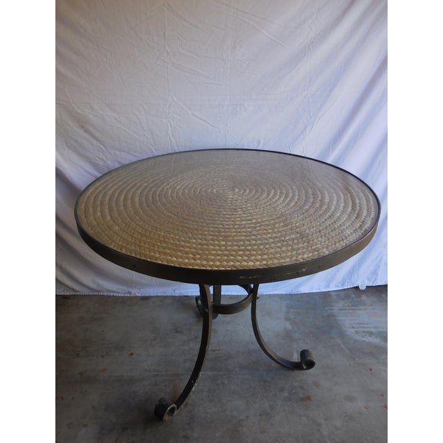 Vintage Ralph Lauren sheltering sky table. Iron, rattan and glass.
