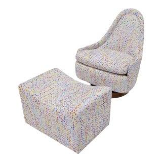 Milo Baughman Thayer Coggin Petite Teardrop Swivel Lounge Chair With Ottoman For Sale
