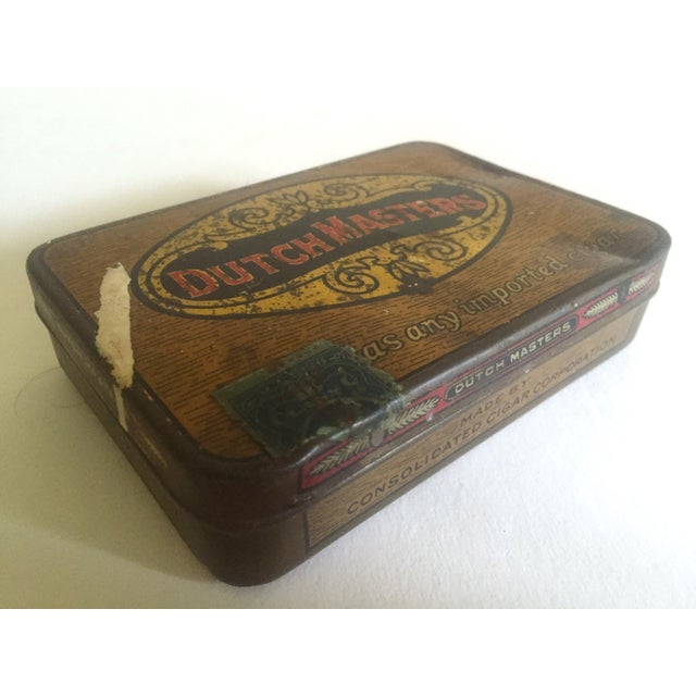 """Vintage Early 1900's """"Dutch Masters"""" Lithograph Cigar Tin Box For Sale - Image 9 of 11"""