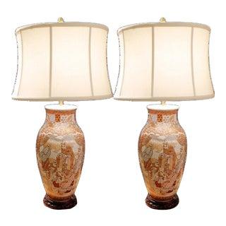 20th Century Japanese Kutani Porcelain Vase Lamps - a Pair