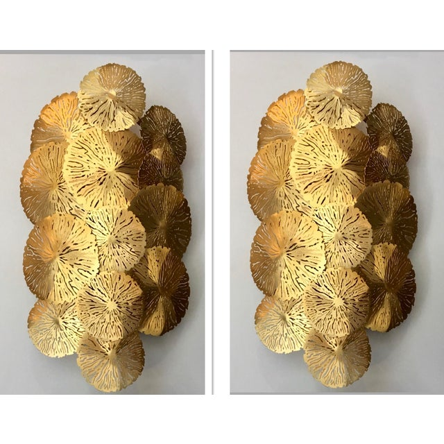 Showroom Studio a Home Modern Brass Lily Pad Sconces Pair - a Pair For Sale In Atlanta - Image 6 of 6