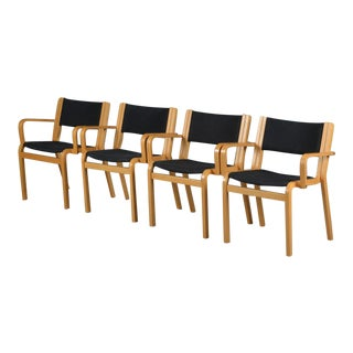 1980´s Danish Rud Thygesen & Johnny Sorensen Beech and Black Fabric Armchairs - Set of 4 For Sale