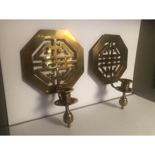 Mid-Century Wall Brass Candleholders - a Pair For Sale - Image 10 of 10