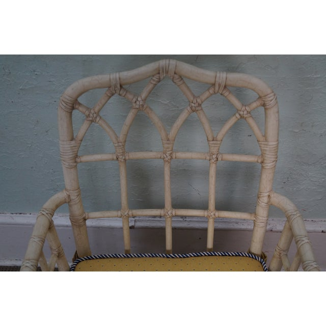 McGuire Chinese Chippendale Style Rattan Arm Chair - Image 6 of 10
